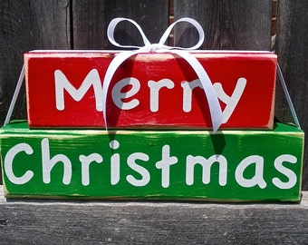 Merry Christmas Fun and Cute Wood Block Decor Sign Red Green White Ribbon