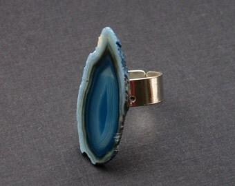 Blue Agate Slice Ring, Rock Ring, Geo Ring
