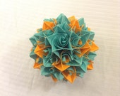 Orange and Turquoise Paper Centerpiece