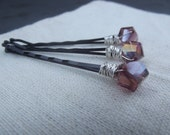 Reserved for Bluewritter Purple Wire Wrapped Bobby Pin for Hair