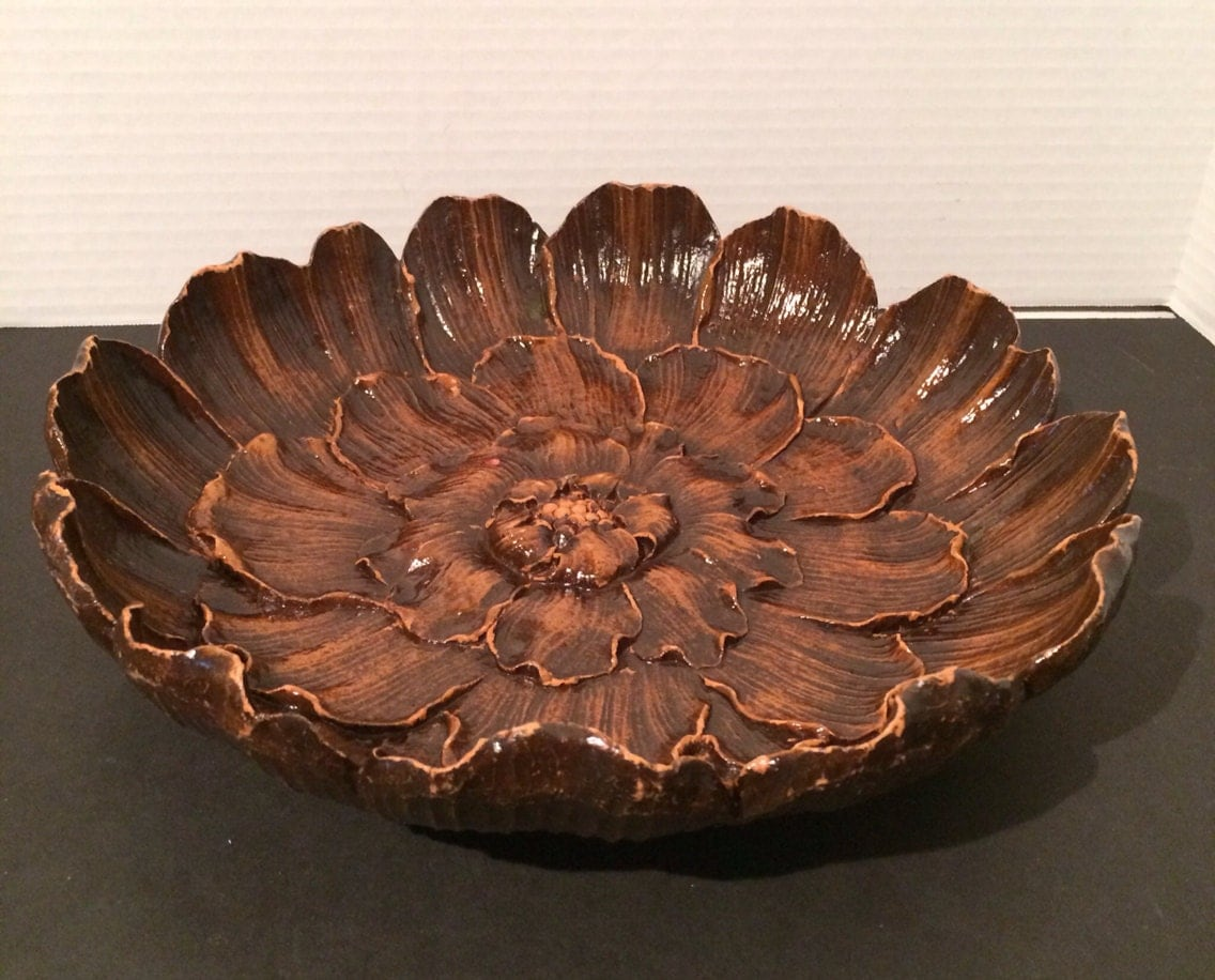 Syroco Wood Large Centerpiece Bowl/Wall Hanging Americana