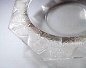 Vintage Lalique France Etched Crystal Display Bowl Serving Dish Geometric Art Deco Pattern