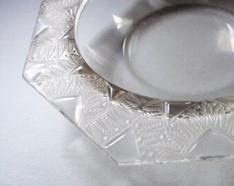 Lalique Crystal Bowl - Art Deco Crystal Dish - French Glass - 1930s Vintage Lalique - Geometric Art Deco Pattern