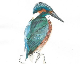 A5 King Fisher Illustration ORIGINAL