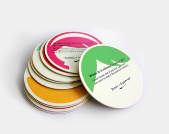 Funny valentine, funny gift, cute paper coasters, Eco-Friendly papers, set of 10, illustrated coasters, pink, green, red, Housewarming gift