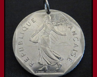 Classic Antique (1981 Vintage FRENCH Republique Francaise 2F, Two Francs Nickel Coin Pendant w/ LIBERTY and Wreath) Divine Art Deco Gems!