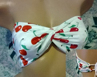 CHERRY TWISTED BANDEAU Tie Back