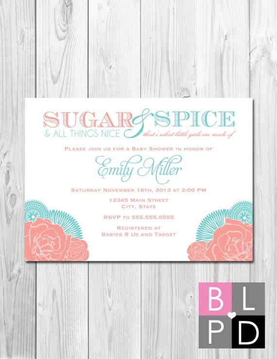 sugar and spice baby shower invitation - corner flowers - coral, Baby shower invitations