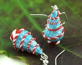 Christmas Earrings, Peppermint Swirl Candy Festive Stocking Stuffer Miniature Tree Folk Whimsical Whimsy Holiday Gift Ice Light Tiffany Blue