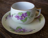 Antique 1900s Handpainted Lilacs German Teacup and Saucer