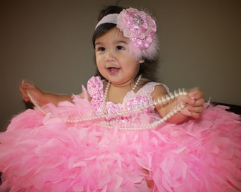 OOAK pink lace feather dress w/ satin flowers  headband pageant holiday dress vintage look birthday photo prop tutu baby flower girl toddler