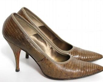 Vintage 1950s Shoes Heels Alligator Brown Pumps Spike Heels Stilluetos Pinup Bombshell Alligator Shoes Garden Party Office Wedding  Designer