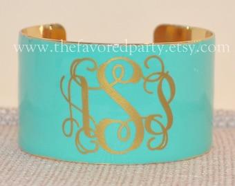 Monogrammed Enamel Cuff Bracelet