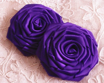 2 Larger Handmade Ribbon Roses (3 inches) in Regal Purple MY-002 -89 Ready To ship