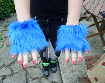 One Luxury Pair of Royal Blue Furry Wrist Cuffs Wristlets Cute Cosy Cosplay Elasticated Winter