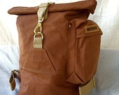 SALE Johnson Benjamin:  Cinnamon Duffle Bag USA Made Rolltop Canvas Backpack