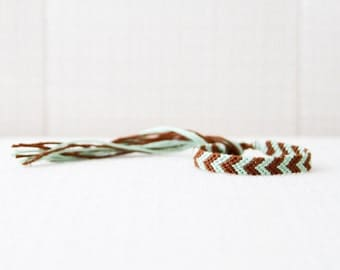 Friendship Bracelet Mint and Brown Chevron Embroidery Bracelet Thread Bracelet