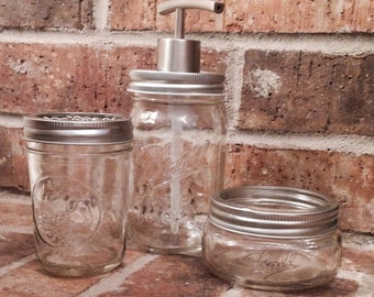 Bathroom Accessories-Mason Jar Bathroom Set 3pc-Mason Jar Bathroom-Mason Jar Soap Dispenser - Soap Dispenser - Toothbrush Holder-Mason Jar