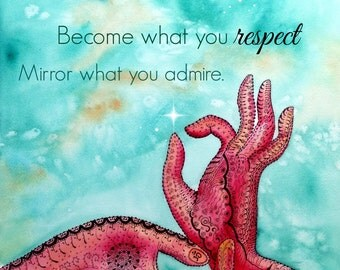 Attract what you expect Mudra Hands art print