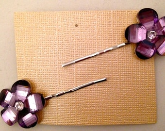 Purple Flower Bobbie Pins, Set of 2