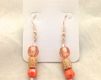 Peachy Beaded Dangle Earrings