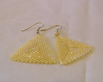 Triangle Earrings handwoven Crystal Yellow Luster Herringbone Peyote Stitch