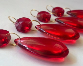 4 Red Smooth Chandelier Crystals Almond Teardrops NO Facets Ornaments Chandelier Parts Crystal Prisms