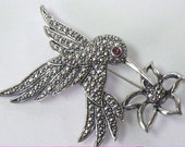 Vintage Hummingbird Marcasite Pin Brooch