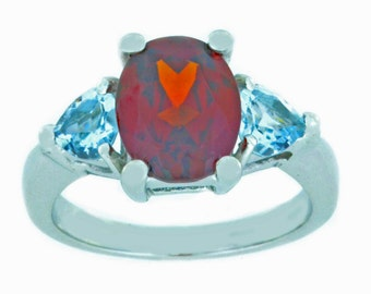 4 Ct Garnet & Genuine Aquamarine Heart Ring .925 Sterling Silver Rhodium Finish
