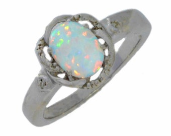 Opal & Diamond Oval Ring .925 Sterling Silver Rhodium Finish