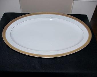 "Hutschenreuther Selb LHS Bavaria 16 1/2"" Oval Platter Gold Scroll Etch"