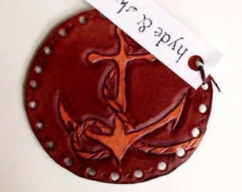 Anchor Patch Tooled Leather Hand carved