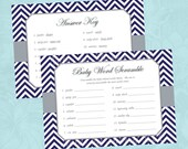 Baby Word Scramble - Navy Blue Gray Chevron Boy Baby Shower Game - Instant Digital Download (Print Your Own) - Printable Baby Shower Game
