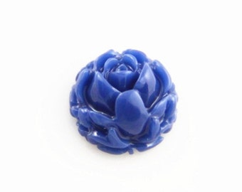 12 pcs of blossom resin cabochon 11mm round-0004-48-cobalt