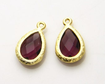 4 pcs of faced jewelry fit with matte  gold setting drop pendant  20x13mm-1683-fuchsia 272