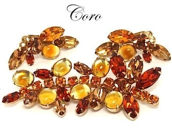 Coro 1950's Fall Amber and Topaz Leaf Rhinestone Brooch & Earrings - 1950s Jewelry - Vintage Jewelry - 1950s Jewelry