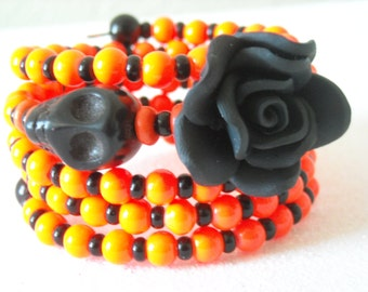 Day of the Dead Black Skull, Polymer Clay Black Rose Flower, with Black and Bright Orange Beaded Memory Wire Bracelet