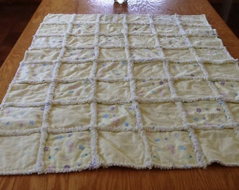 Yellow Baby Items Rag Quilt