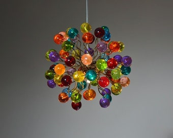 Pendant light with Rainbow color bubbles for hall, bathroom, children space or as a bedside Lighting.