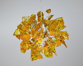 Yellow leaves and flowers Ceiling Lamp for bathroom, children room, hall or over a kitchen island - unique pendant light.