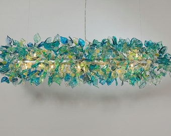 Hanging chandelier decorations with blue flowers and leaves , Ceiling light fixture with sea color leaves and flowers