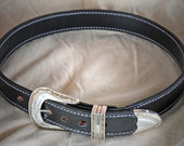 "Leather Belt, Custom Handmade-Handtooled, sized up to 40"" waist"