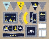 Nautical Baby Shower Party Package Printable DIY