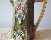 Antique Frie Onnaing French Majolica Pitcher 781 Art Nouveau 1920's Early Nineteenth Century French Pottery Pink Roses Unique Rustic Pitcher