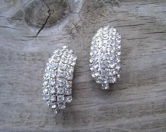 Vintage Clear Crystal Rhinestone Earrings Silvertone Setting Dome Shape  Wedding Jewelry  Bridal 1960's Vintage Bride Super Sparkly
