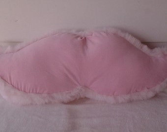 Baby Pink Corduroy Mustache Pillow with Fur Trim
