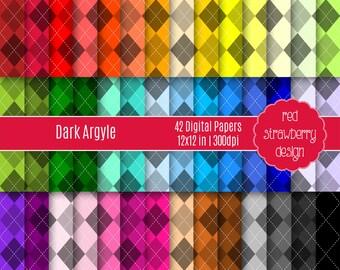 75% OFF Sale - 42 Digital Papers - Dark Argyle - 42 Digital Papers  - Instant Download - JPG 12x12 (DP126)