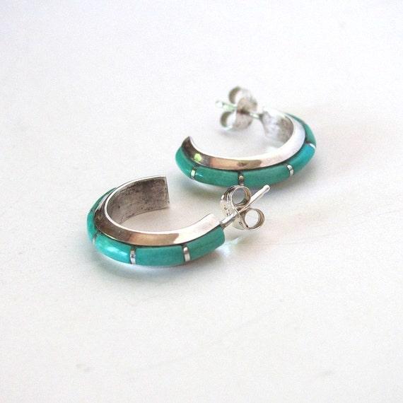 Zuni Earrings: Turquoise Jewelry Turquoise Earring Zuni Jewelry Turquoise