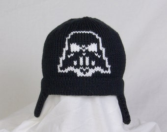 Custom Knit Darth Vader Hat with or without Ear Flaps