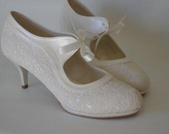 Wedding shoes, Handmade Salsa dance FRENCH GUIPURE lace ivory wedding shoe  + GIFT Bridal Pantyhose #7011